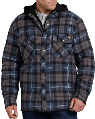 Dickies Big & Tall Relaxed-Fit Plaid Quilted Hooded Shirt Jacket