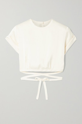 Orseund Iris Le Club Cropped Satin Top - Cream