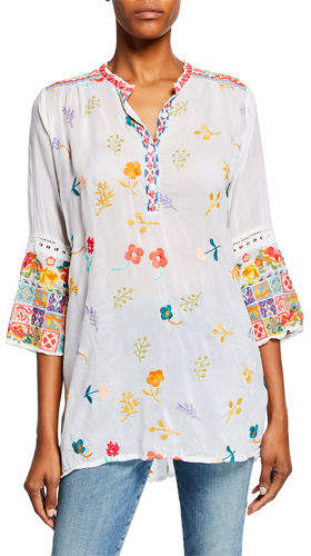 Johnny Was Tazanna Embroidered 3/4-Sleeve Georgette Tunic