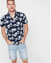 Express slim tropical blue floral short sleeve cotton shirt