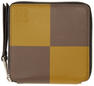 Loewe Yellow and Taupe Square Zip Wallet