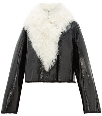 Loewe Shearling-trimmed Cropped Leather Jacket - Womens - Black White