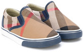 Burberry gaberdine slip on sneakers - kids - Cotton/Leather/rubber - 23