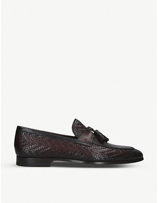 Magnanni Tassel-trim woven leather penny loafers