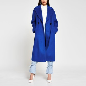 River Island Womens Blue slouch long line coat