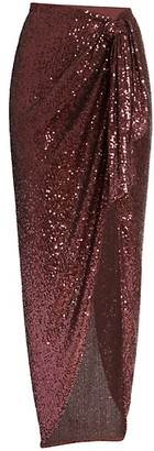 Balmain Knotted Sequin Pareo Skirt