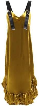 Mother of Pearl Florence Ruffle-trimmed Velvet Midi Dress