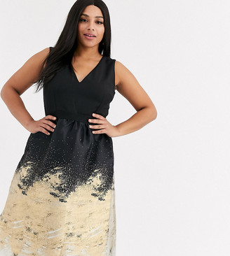 Little Mistress Plus metallic jaquard midi prom dress in gold-Black