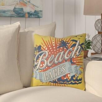 "Dade Indoor/Outdoor Throw Pillow Breakwater Bay Size: 16"" H x 16"" W, Color: Lime Green/Aqua"