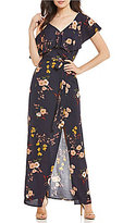 Sanctuary Dark Floral Maxi Wrap Dress