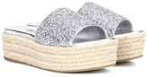 Miu Miu Glitter Platform Sandals