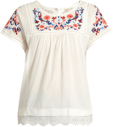 Rebecca Taylor Floral-embroidered cotton top