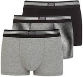 Jockey Stretch Cotton Trunks, Pack Of 3, Black/grey