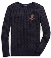 Ralph Lauren Petite Bullion-Patch Cable Sweater