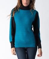 Yuka Paris Black & Turquoise Color Block Turtleneck