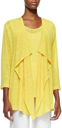 Caroline Rose Plus Size Gauze Knit Draped Jacket