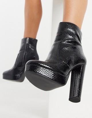 Aldo platform ankle boots in black patent