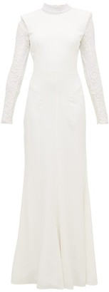 Alexander McQueen Lace-trimmed Leaf-crepe Gown - Womens - Ivory