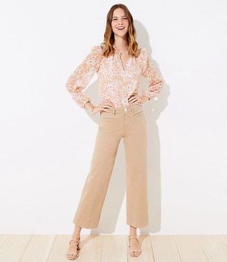 LOFT Petite Welt Pocket High Waist Wide Leg Crop Jeans in Chai Latte