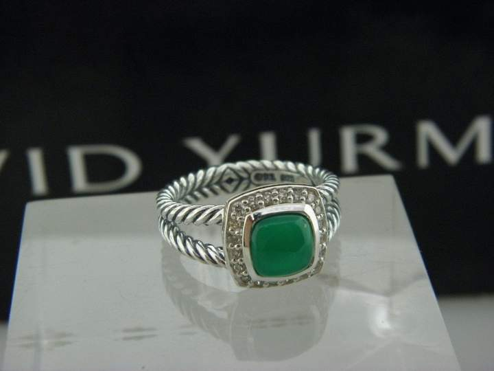David Yurman 925 Sterling Silver Green Onyx and Diamonds Petite Albion Ring Size 6.5