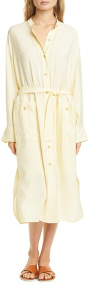 Vince Oversize Belted Long Sleeve Shirtdress