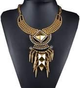 XY Fancy Retro Geometric Rivet Alloy Diamond Necklace Ancient