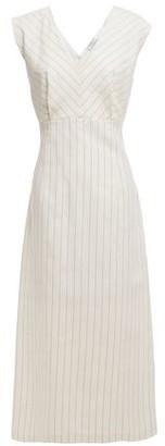Sandro Noaim Pinstriped Cotton And Linen-blend Midi Dress