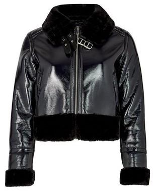 Dorothy Perkins Womens Lola Skye Black Vinyl Jacket, Black