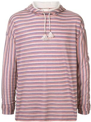 Marni striped hooded long-sleeved T-shirt