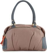 Oryany Tina Two-Tone Leather Satchel Bag, Mushroom Multi