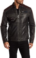 Affliction Faux Leather Street Fighter Moto Patch Jacket