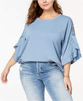 Style&Co. Style & Co Plus Size Ruffled-Sleeve Top, Created for Macy's