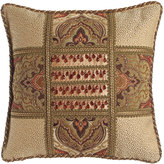 "Dian Austin Couture Home Mediterrane Patch Pillow with Beaded Silk Center, 22""Sq."