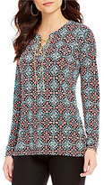 MICHAEL Michael Kors Nui Tile Print Matte Jersey Lace-Up Chain Neck Tunic