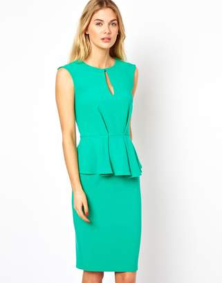 Closet London Closet Peplum Pencil Dress with Keyhole Detail-Green