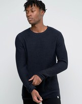 Jack & Jones Crew Neck Knit In Yarn Dye