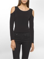 Calvin Klein Faux Leather Cold Shoulder Top