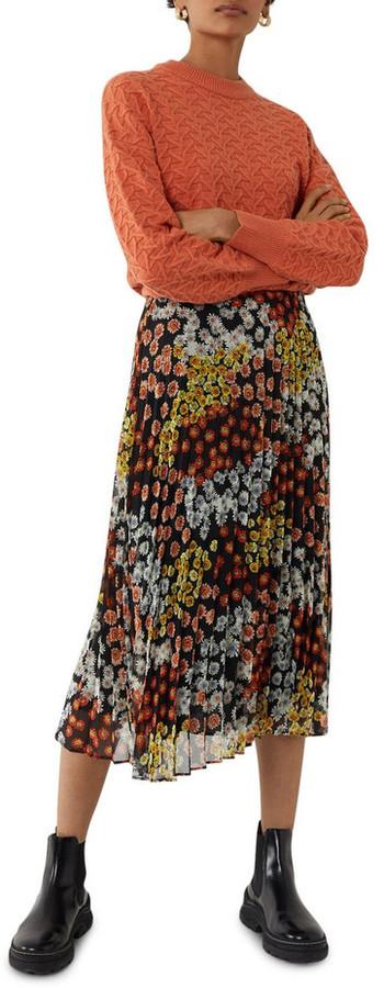 Warehouse Cutabout Daisy Print Pleated Midi Skirt