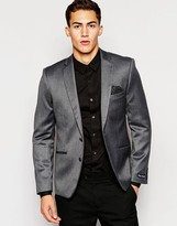 French Connection Herringbone Heritage Contrast Check Suit Jacket - Grey