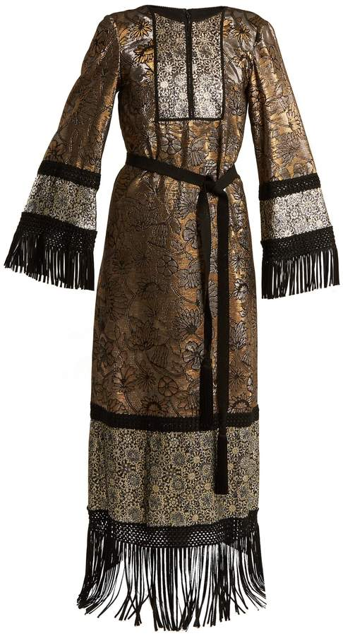 Andrew Gn Fringed-edge tie-waist brocade gown