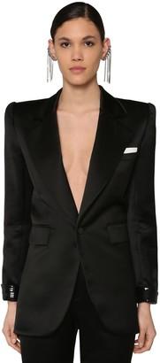Saint Laurent Viscose Satin Blazer W/sequins