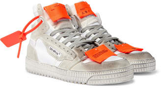 Off-White Off White Off-Court 3.0 Distressed Suede, Leather And Canvas High-Top Sneakers