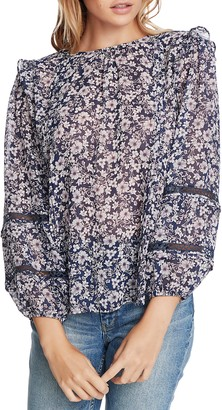 1 STATE Wildflower Bouquet Lace Inset Blouse