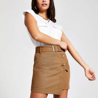 River Island Womens Beige utility mini skirt