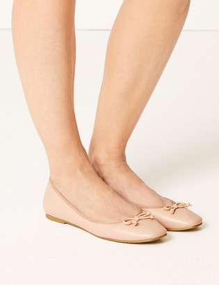 Marks and Spencer Square Toe Bow Ballerina Pumps