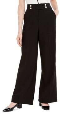 Calvin Klein Wide-Leg Faux-Pearl-Button Pants