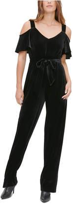 Calvin Klein Velvet Cold-Shoulder Jumpsuit