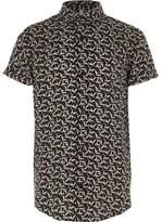 River Island Boys black bird print short sleeve shirt
