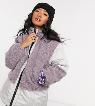 ASOS DESIGN petite patched fleece oversized jacket