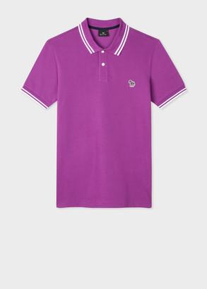 Paul Smith Men's Slim-Fit Purple Zebra Logo Cotton Polo Shirt With White Tipping